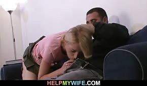 Wydymał jego blond partnerkę