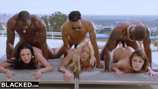 Grupowy seks z trzema porno gwiazdami